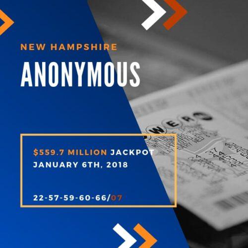 Anonymous Winner - $559.7 Million – 2018