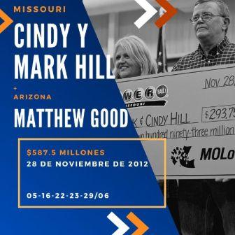 mayores ganadores del Powerball - Cindy y Mark Hill y Matthew Good