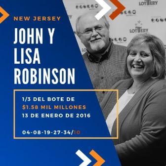 mayores ganadores del Powerball - John y Lisa Robinson