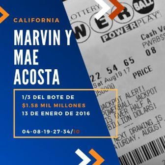 mayores ganadores del Powerball - Marvin y Mae Acosta