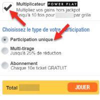 Ajoutez le Power Play et choisissez le type de billet