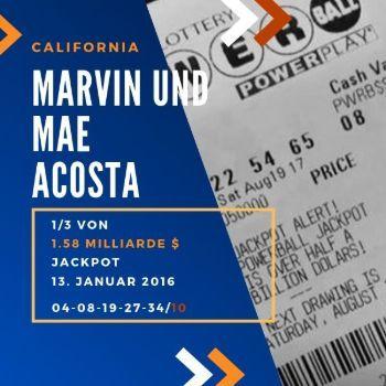 Marvin und Mae Acosta - Powerball - 1/3 1,6 Mrd. $