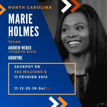 Marie Holmes - Powerball - 1/3 de 564 millions $