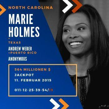 Marie Holmes - Powerball - 1/3 564 Mio. $