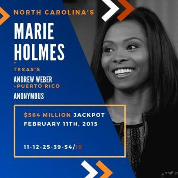 Marie Holmes - Powerball - 1/3 of $564 Million