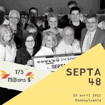 Le groupe SEPTA 48 - Powerball - 173 millions $