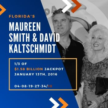 Maureen Smith and David Kaltschmidt - Powerball - 1/3 of $1.58 billion jackpot